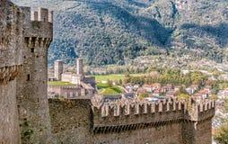 View from Montebello Castle of town Bellinzona. View from Montebello Castle of town Bellinzona, Ticino, Switzerland Royalty Free Stock Image