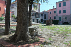 View of Montemarcello square. View of the square in Montemarcello, Liguria Italy Royalty Free Stock Photo