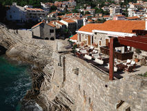 View of montenegro. Houses with red roof on the rock Stock Images