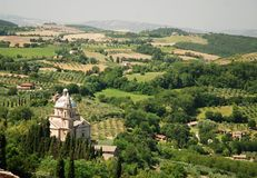 View from Montepulciano, Tuscany, Italy. Landscape and the Sanctuary of San Biagio in Montepulciano Stock Photo