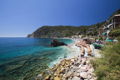 View of Monterosso al Mare beach in new town district Stock Photos