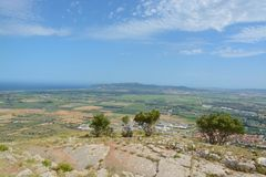 View from Montgri castle. Aerial view from Montgri castle Stock Photography