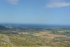 View from Montgri castle. Aerial view from Montgri castle Stock Photo