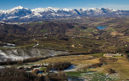 View of Monti Sibillini National Park in the winter season with snow stock images