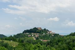 Cityscape of Monticello d`Alba. View of Monticello d`Alba with Castello, Piedmont Italy Royalty Free Stock Images