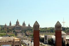 The view of Montjuïc, Barcelona, Catalonia Stock Photos