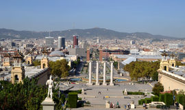 View from Montjuic of Barcelona, Spain Royalty Free Stock Images