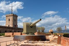 Fortress of Montjuic, canon and turret. Barcelona, Spain. View of Montjuic Castle, canon and turret. It is an old military fortress, built on top of Montjuic Royalty Free Stock Images