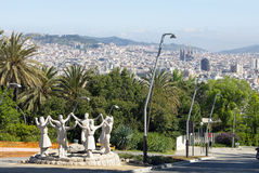 View from the Montjuic hill on the city and modern sculptural composition in the foreground Royalty Free Stock Photos