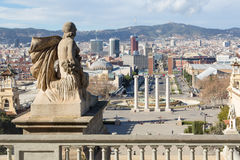 View from Montjuic to Plaza de Espana in Barcelona Royalty Free Stock Photos