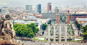 View from Montjuic to Plaza de Espana including the four columns and the Venetian towers in Barcelona, Spain. stock photo