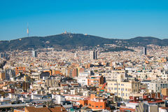 View from Montjuic to Tibidabo Royalty Free Stock Photography