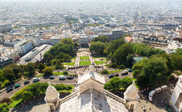 View of Montmartre hill from the Sacre Coeur in Paris Royalty Free Stock Photography