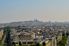 Montmartre. View of Montmartre neighborhood with the Sacre Coeur church on top of the hill in Paris, France Royalty Free Stock Photos
