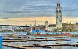 View of Montreal Clock Tower in the Old Port - Canada Royalty Free Stock Image