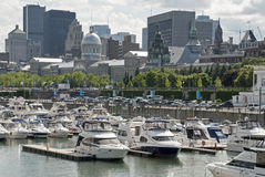 View of Montreal with yacht harbor Royalty Free Stock Photos