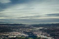 A view from the Montserrat mountain top. Beautiful panorama of valley, sky and mountains on a background Royalty Free Stock Photos