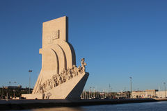View of the Monument of the Discoveries from the Tagus River. The Monument to the Discoveries Padrao dos Descobrimentos from the Tagus River. Lisbon, Portugal Stock Photography