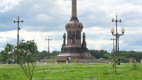 View of the monument in honor of the Millennium of Yaroslavl stock video footage