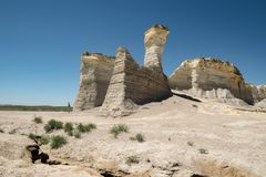 View of Monument Rocks in western Kansas royalty free stock photos