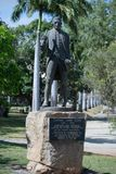 Captain Cook statue and plaque, Cook`s Landing, Endeavour River, Cooktown. View of the monument and statue memorializing Captain Cook on the banks of the Stock Photo