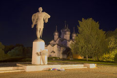 View of the monument to Alexander Nevsky in September at night. Veliky Novgorod Stock Images