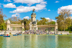 View at the Monument to Alfonso XII of Spain in Madrid Stock Photos