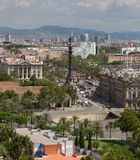 View of a monument to Columbus and city of Barcelona, Spain Royalty Free Stock Image