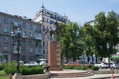 View of the monument to Defenders of borders of Fatherland of all generations (Cossack on the ponies). Kiev, Stock Image