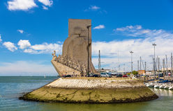View of Monument to the Discoveries in Lisbon Royalty Free Stock Photos