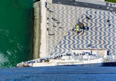 View from Monument to the Discoveries in Lisbon, Portugal royalty free stock photos