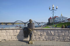 View of the monument to the poet L. I. Oshanin on the embankment of the Volga river. Rybinsk Stock Photo