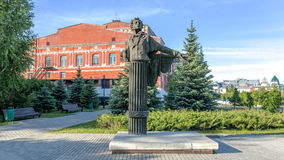 View of a monument to A. S. Pushkin the clear sunny day. Samara, Russia stock image