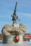 View of the monument to the Soviet paratroopers in the Tuzla Spit - Lender gun with armored BKA 73. Taman, Russia - March 8, 2016: View of the monument to the Royalty Free Stock Image