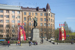 View of the monument to Vladimir Lenin in red square may day. Vyborg Stock Photos