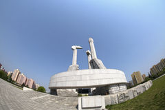 A view of the Monument to Workers` Party of Korea Founding in Pyongyan. DPRK - North Korea. royalty free stock images