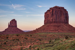 View of Monument Valley at dusk, Utah, USA Stock Photos