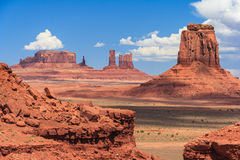 View of Monument Valley in Navajo Nation Reservation between Utah and Arizona Stock Photo