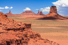 View of Monument Valley in Navajo Nation Reservation between Utah and Arizona Royalty Free Stock Photography