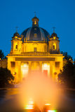 View of the Monumento a los Caidos  from  fountain in night Royalty Free Stock Photography