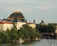 View of monuments from the river in Prague. Stock Photography