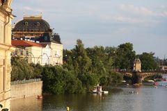 View of monuments from the river in Prague. Royalty Free Stock Photography