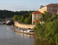 View of monuments from the river in Prague. Stock Image