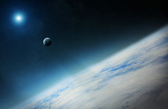 View of the moon close to planet Earth in space Stock Images