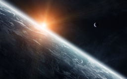 View of the moon close to planet Earth in space Royalty Free Stock Photos