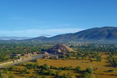 View of Moon Pyramids in ancient city Teotihuacan - Mexico royalty free stock image