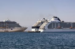 View of moored cruise ships royalty free stock image