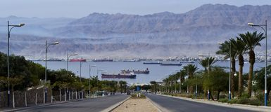 View on moored freight ships in Aqaba gulf Royalty Free Stock Images