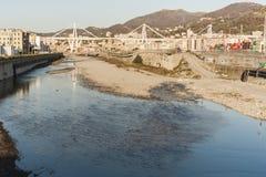 A view of the Morandi Bridge and the Polcevera River stock photography