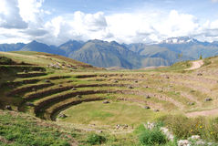 View of Moray in the valley of the Urubamba river Royalty Free Stock Image